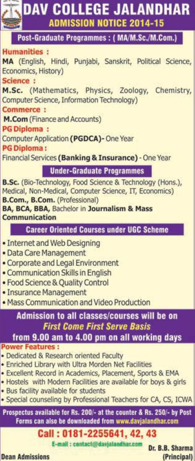 MA, MSc and M Com Programme (DAV College)