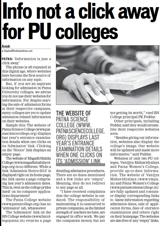 Info not a click away for PU colleges (Patna University)