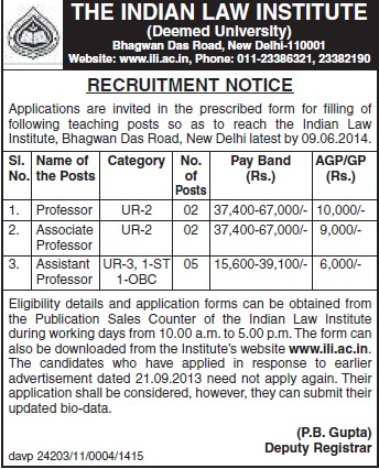 Associate Professor (Indian Law Institute)