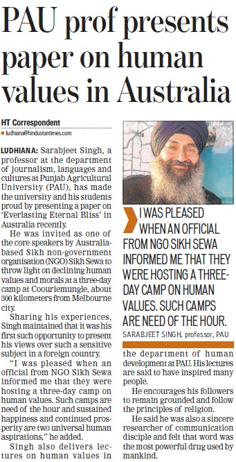 Prof Sarabjeet Singh presents paper on human values in Australia (Punjab Agricultural University PAU)