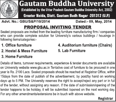 Supply of Office Furniture (Gautam Buddha University (GBU))