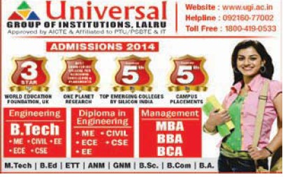 B Tech, BBA and BCA (Universal Group of Institutions)
