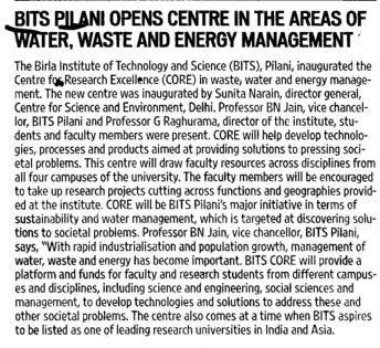 BITS opens centre in areas of water and waste management (Birla Institute of Technology and Science (BITS))