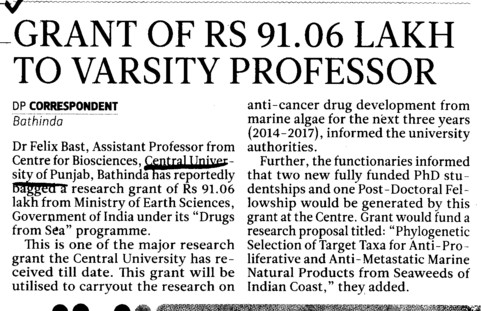 Grant of Rs 91 lakh to Professor Dr Felix Bast (Central University of Punjab)