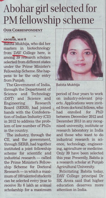 Abohar girl selected for PM fellowship scheme (DAV College)