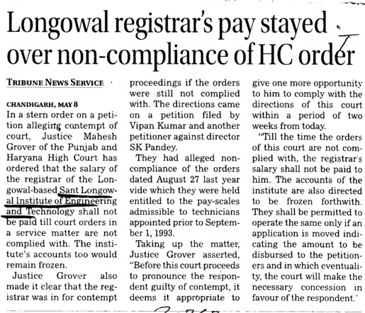 Longowal registrar pay stayed over non compliance of HC order (Sant Longowal Institute of Engineering and Technology SLIET)