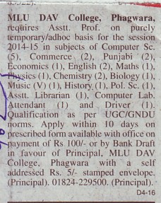 Asstt Professor for Pol Science and Chemistry (Mohan Lal Uppal DAV College)