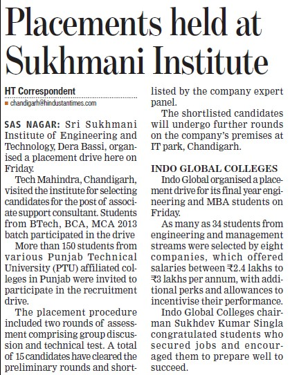 Placement held (Sri Sukhmani Institute of Engineering and Technology)