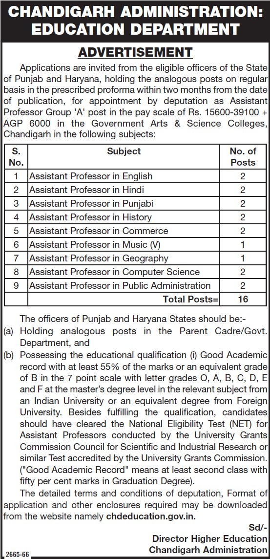 Asstt Professor for Geography (Education Department Chandigarh Administration)