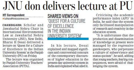 JNU don delivers lecture at PU (Jawaharlal Nehru University)