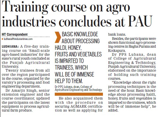 Training course on agro industries concludes at PAU (Punjab Agricultural University PAU)