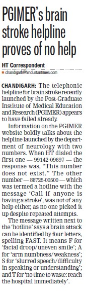 PGIMERs brain stroke helpline proves of no help (Post-Graduate Institute of Medical Education and Research (PGIMER))