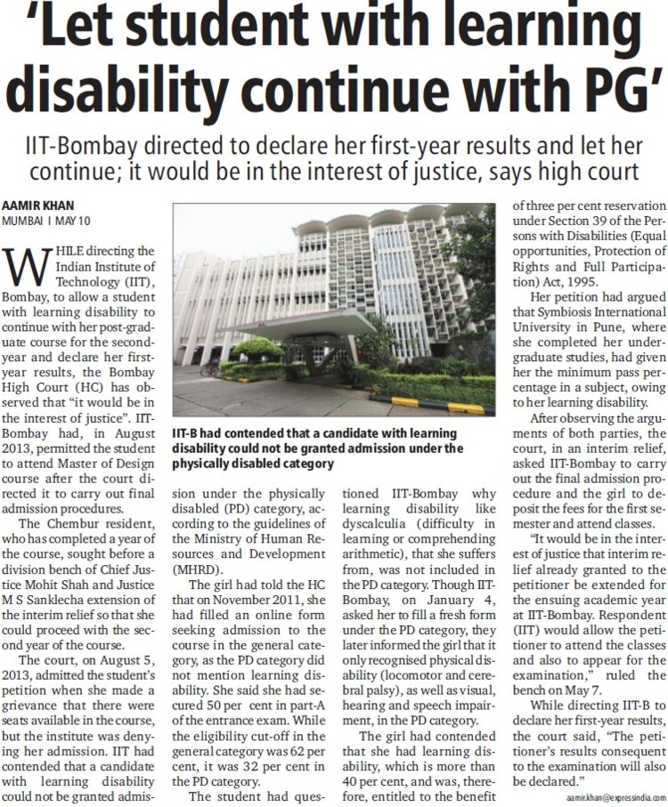 Let student with learning disability continue with PG (Indian Institute of Technology (IITB))