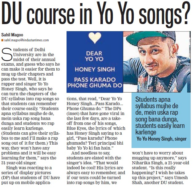 DU course in yo yo songs (Delhi University)