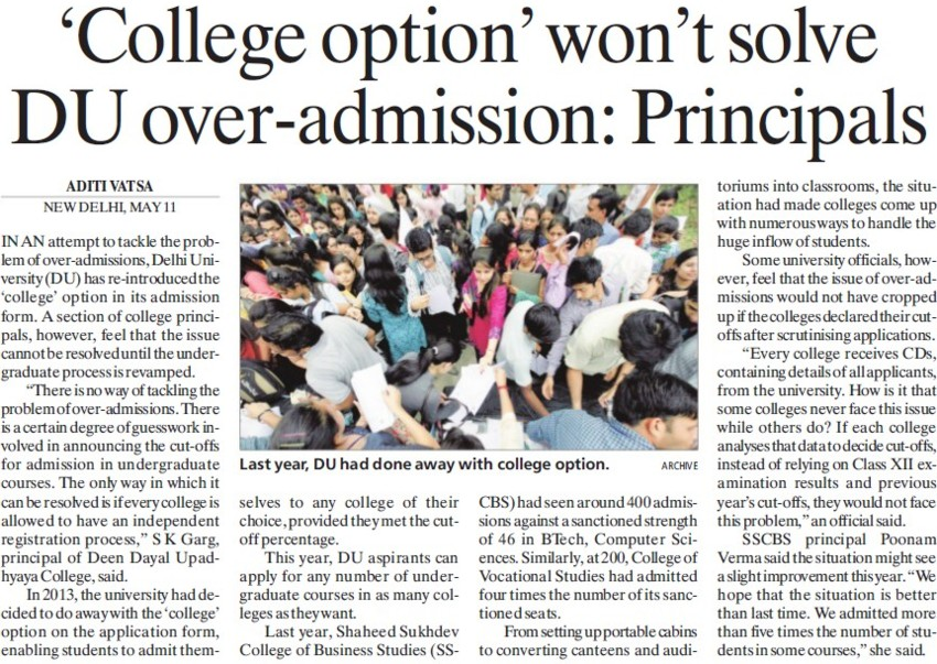 College option wont solve DU over admission, Principals (Delhi University)