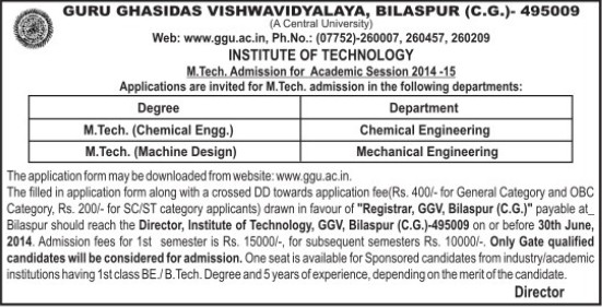 M Tech in Chemical Engineering (Guru Ghasidas University)