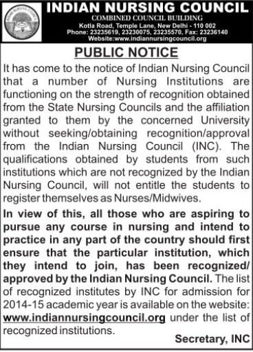 Affiliation to Nursing colleges (Indian Nursing Council (INC))