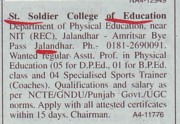 Asstt Professor for DPEd (St Soldier College of Education)