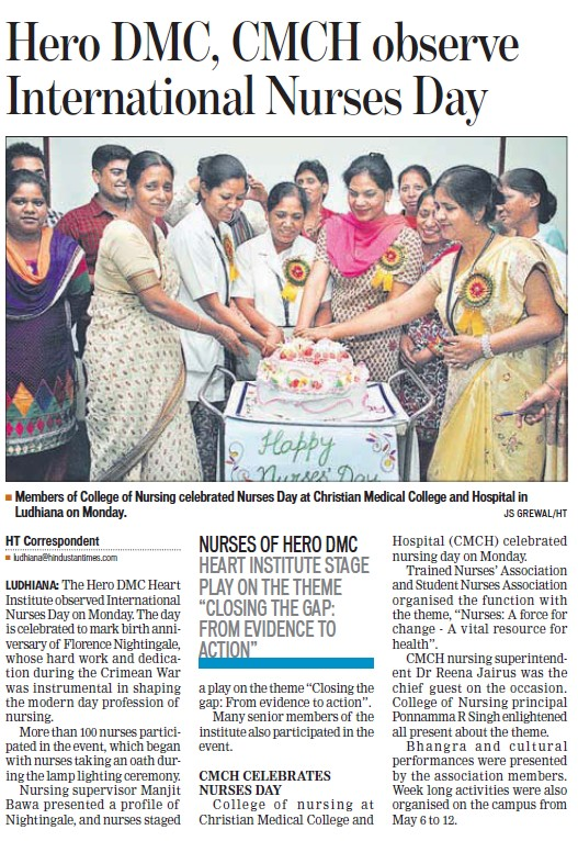 International Nurses day celebrated (Dayanand Medical College and Hospital DMC)