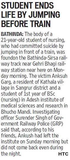 Student ends life by jumping before train (Adesh Institute of Medical Sciences and Research)