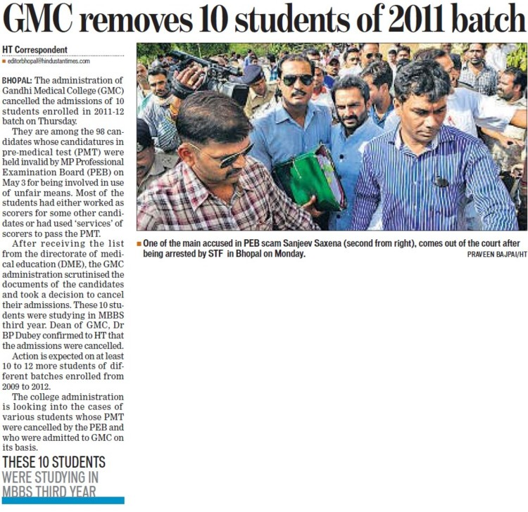 GMC removes 10 students of 2011 bath (Gandhi Medical College)