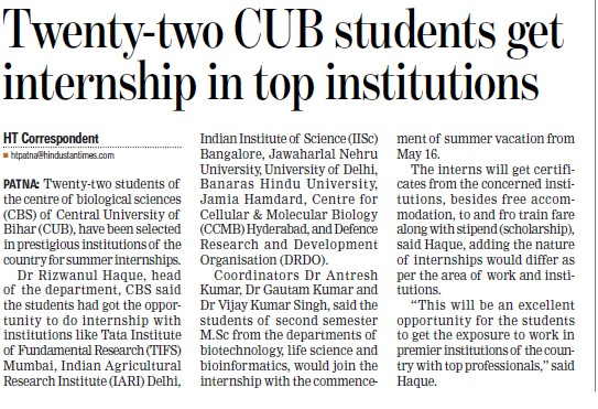 Students get internship in top institutions (Central University of Bihar)