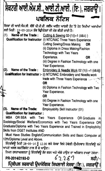 Instructor required (Industrial Training Institute (ITI Women))