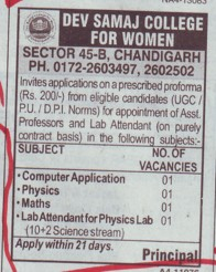 Lab Attendant (Dev Samaj College for Women)