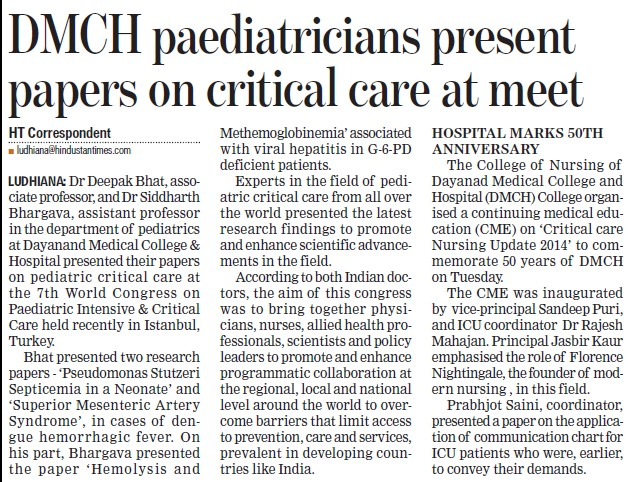 DMCH paediatricians present papers on critical care at meet (Dayanand Medical College and Hospital DMC)