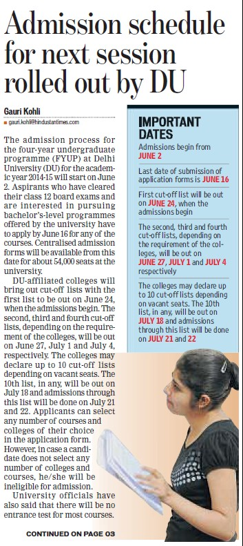 Admission schedule for next session rolled out by DU (Delhi University)