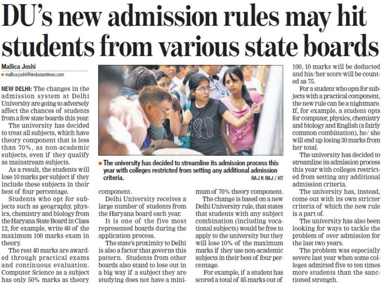 DUs new admission rules may hit students from various state boards (Delhi University)