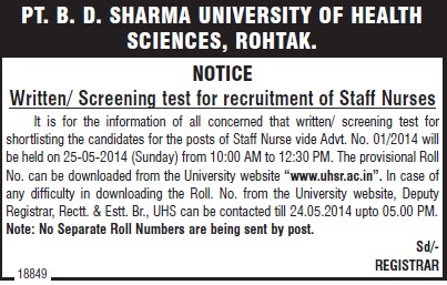 Staff Nurses (Pt BD Sharma University of Health Sciences (BDSUHS))