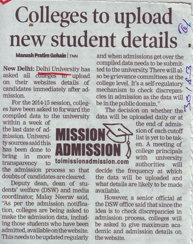 College to update new students detail (Delhi University)