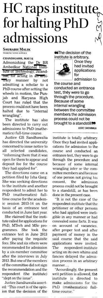 HC raps institute for halting PhD admission (Dr BR Ambedkar National Institute of Technology (NIT))