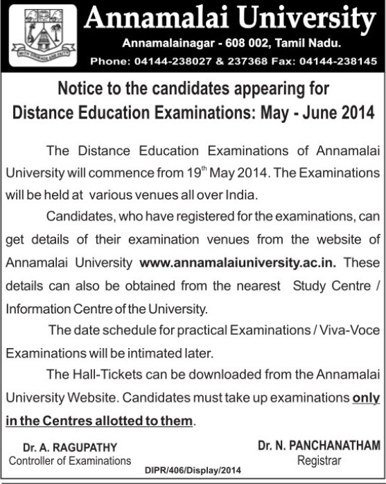Distance Education Examination (Annamalai University)
