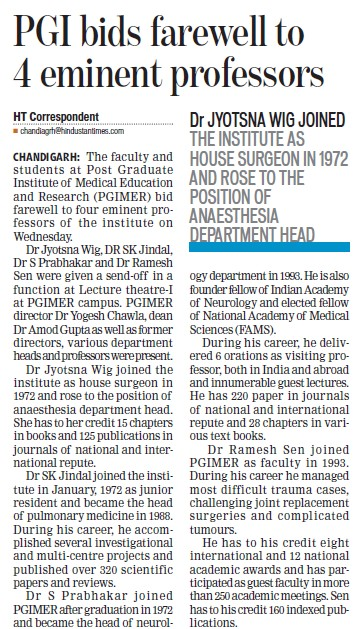 PGI bids farewell to 4 eminent professor (Post-Graduate Institute of Medical Education and Research (PGIMER))