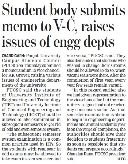 Student body submits memo to VC (Panjab University Students Union PUSU)