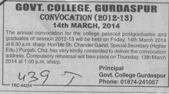 Annual Convocation held (Government College)