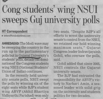 Cong students winf NSUI sweeps GuJ Univ polls (Gujarat University)