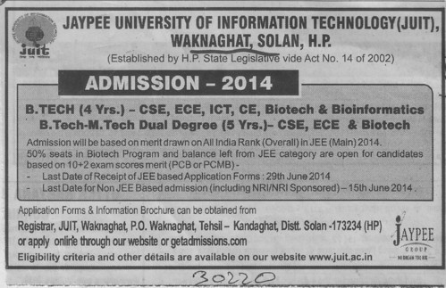 B Tech in ECE and ICT (Jaypee University of Information Technology (JUIT))