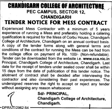 Mess Contract (Chandigarh College of Architecture)