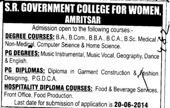 PG Degree in Music Instrumental (SR Government College for Women)