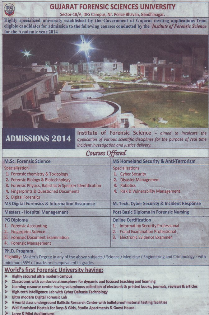 MSc in Forensic Chemistry and Toxicology (Gujarat Forensic Sciences University)
