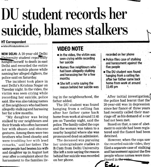 Students records her suicide, blames stalkers (Delhi University)