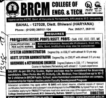 System Administration (BRCM College of Engineering and Technology Bahal)