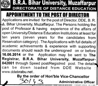 Director required (Babasaheb Bhimrao Ambedkar Bihar University)