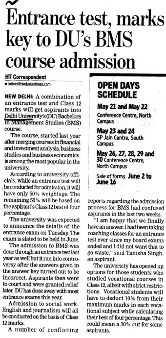 Entrance Test marks key to DUs BMS course admission (Delhi University)