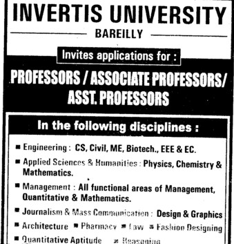 Associate Professor for Fashion Designing (Invertis University)