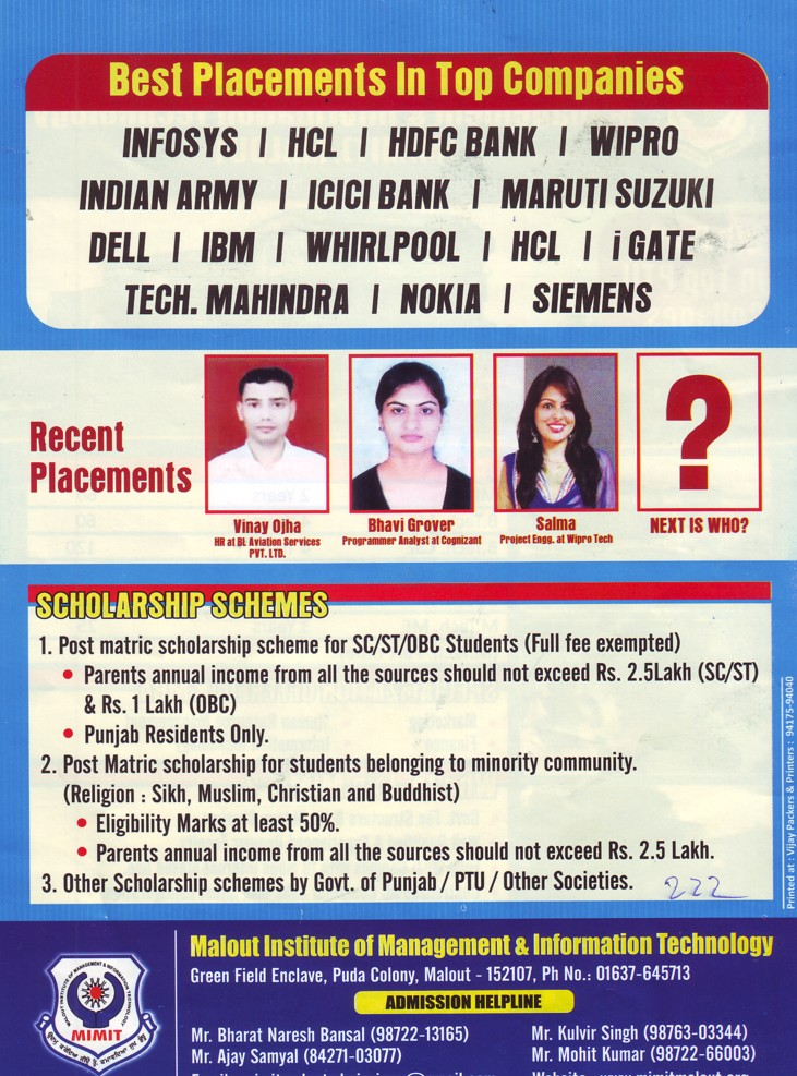 Bhavi Grover get job in MNCs (Malout Institute of Management and Information Technology MIMIT)