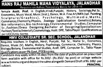 Asstt Professor for English and Fine Art (Hans Raj Mahila Vidyalaya)